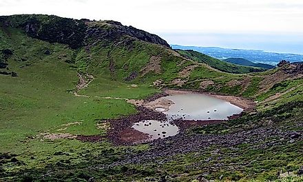 Crater lakes on the volcano of the Hallasan National Park.