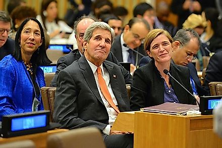 US Secretary of State John Kerry and US Ambassador to the UN Samantha Power at a top level meeting at UN Headquarters.