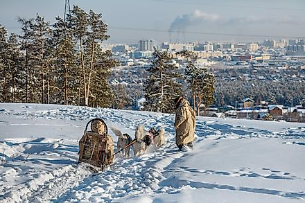 Winter view of Yakutsk, Russia.