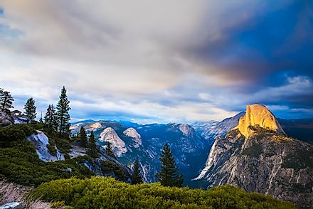Yosemite National Park has many outstanding rock formations, such as the Half Dome, a giant granite dome.