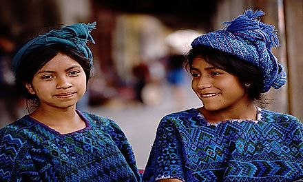 Indigenous girls in Chichicastenango, Guatemala.