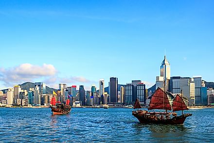 A view of the skyline of Hong Kong.