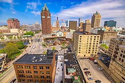 Milwaukee, the largest city in Wisconsin.