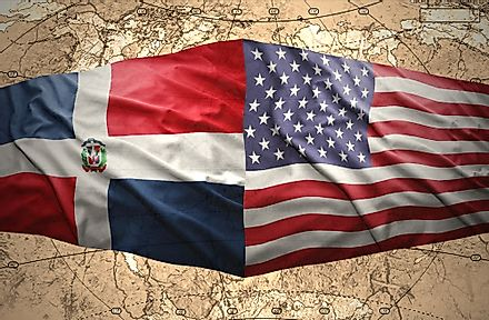 The flags of the Dominican Republic and the USA.