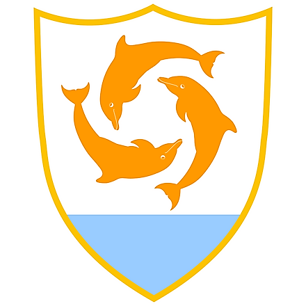 Coat of Arms of Anguilla features three interlocking dolphins jumping out of the blue seawater.