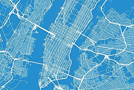 A map showing Manhattan and some of the surrounding boroughs.