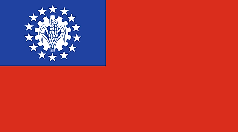 Red banner with blue canton containing seal surrounded by 14 5-pointed stars