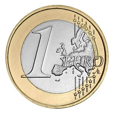 One Euro coin. Euro is the currency used in Austria.