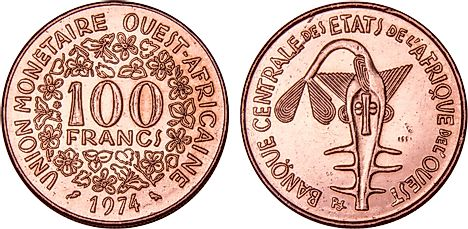 100 West African CFA Francs, 1974