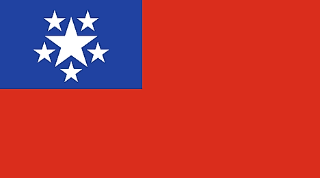 Red banner with six stars on blue canton