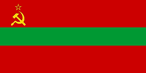 Horizontal red, green, red flag with with sickle, hammer, and star on canton