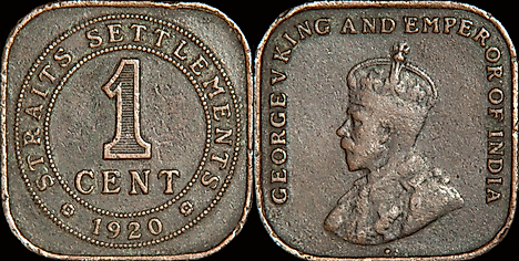 One Straits one cent coin from 1920. Image credit: Djfly/Wikimedia.org