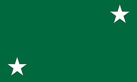 Green banner with white stars on upper right and lower right corners
