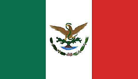 Green, White, Red flag featuring an eagle sitting on cactus and holding a green snake on its beak and claw (eagle's head turned towards the hoist side)