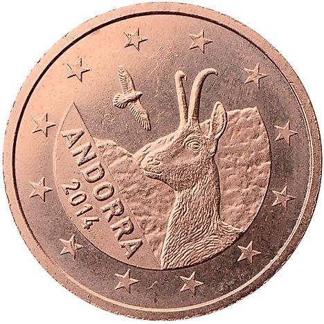Andorra euro coins of 1, 2 and 5 cent coins show a Pyrenean chamois and a golden eagle.