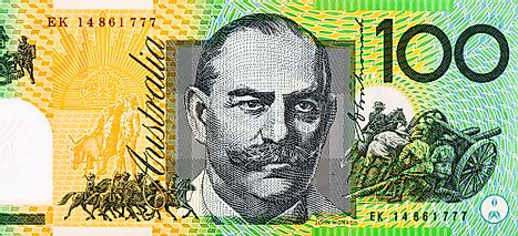 Sir John Monash Portrait from Australia 100 Dollars Polymer Banknotes