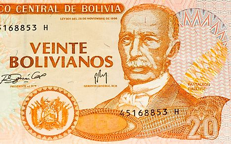 20 bolivianos bank note of Bolivia.