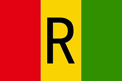 Red, yellow, and green vertical stripes with black letter