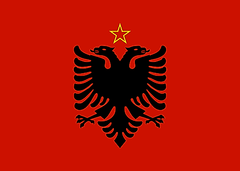 Flag of the People's Republic of Albania. It featured a red star with a yellow outline between the two eagle heads.