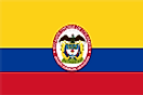 Large yellow and equal blue and red horizontal bands and national seal at the center
