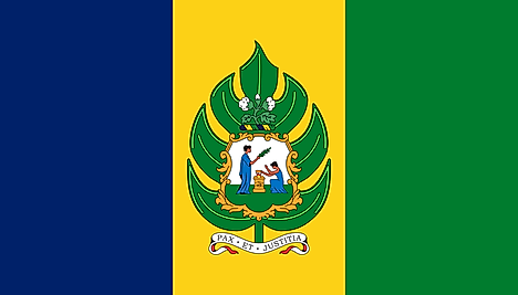 Blue, yellow, and green horizontal stripes (without the white stripes) with the national symbol on yello