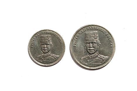 Coins of Brunei dollar showing the portrait of the Sultan of Brunei