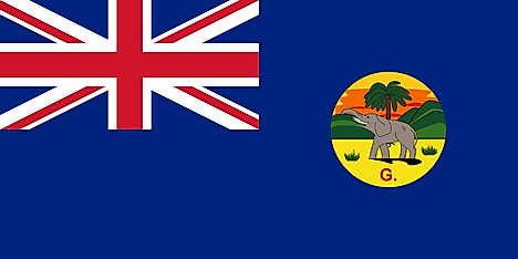 Flag of the Gambia Colony and Protectorate (1889–1965). Image credit: Thommy/Wikimedia.org