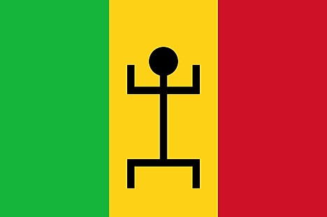 Green, yellow, and red vertical bands with black human figure centered on yellow