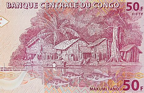 Fishermen village on Congo 50 francs (2007) banknote.