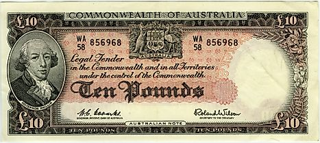 An Australian 10 pound bank note featuring Governor Phillip, issued between 1954 and 1959