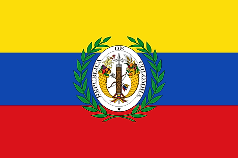 Yellow, blue, and red horizontal flag with official seal in the middle