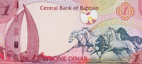Galloping Arabian Horses and the Sail and Pearl monument on Bahrain one dinar (2006) banknote