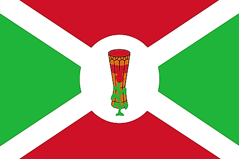 Flag of Burundi from 1 July 1962 to 28 November 1966 (Drum Variant). Image credit: Eeilios/Wikimedia.org