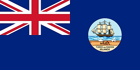Blue field with Union Jack on upper hoist and seal