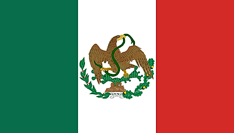 Green, White, Red flag featuring an eagle sitting on cactus and holding a green snake on its beak and claw (eagle's head turned towards the fly side)