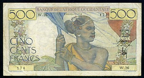 French West Africa 500 Francs banknote of 1946 Bank of West Africa - Banque de L'Afrique Occidentale.