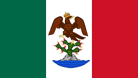 Green, White, Red flag featuring an eagle sitting on cactus