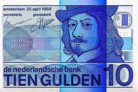 Frans Hals, Dutch painter. Portrait from Netherlands 10 Dutch Guilder 1968 Frans Hals, Dutch painter. Portrait from Netherlands on 10 Dutch Guilder 1968 banknote