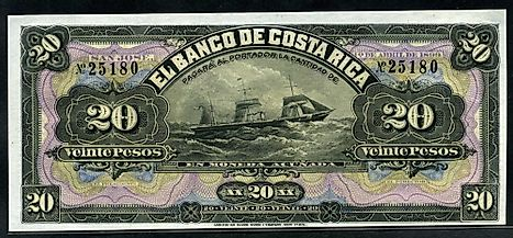 Costa-Rica 20 Pesos banknote of 1899