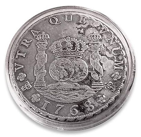 A silver 8-real coin. Spanish real was used in Argentina prior to the introduction of the peso.