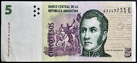 Portrait of Jose de San Martin, also called  El Libertador of Argentina, featured on on 5 Pesos 2003 banknote from Argentina