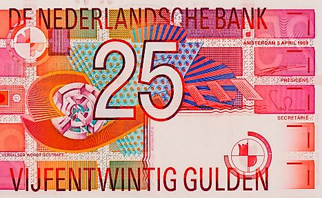 Portrait from Netherlands 25 Gulden 1989 Banknotes.