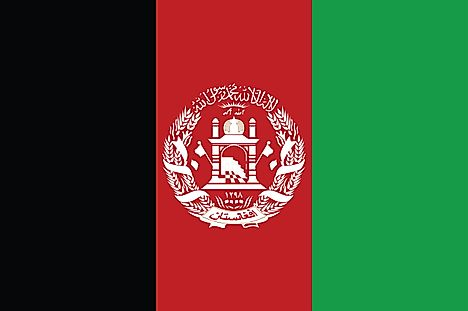This Afghanistan flag is similar to the current flag but the emblem is smaller.