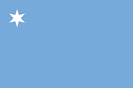 Light blue flag with 6-pointed star on upper left