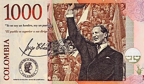 Portrait of Jorge Eliecer Gaitan addressing the crowd on Colombia currency 1000 peso (2015) banknote