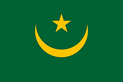 Green flag with gold crescent and 5-pointed star