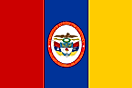 Red, blue, and yellow vertical stripes with seal centered on blue