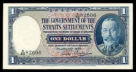 The obverse of a Straits Settlements 1 Straits dollar banknote from 1935.
