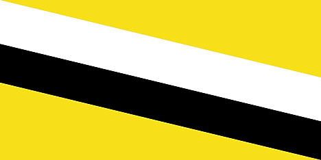 A yellow flag with black and white diagonal stripes was used by the Protectorate of Brunei.
