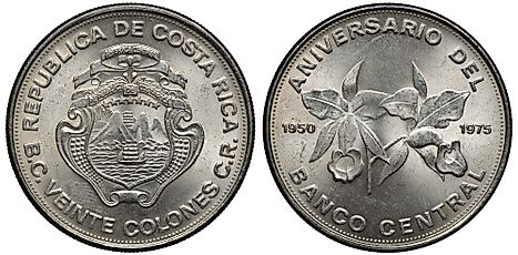 Costa-Rican coin 20 colones 1975